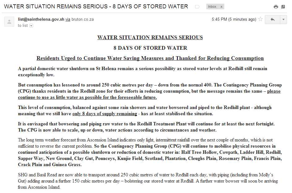 Email about drought - 7th June 2013